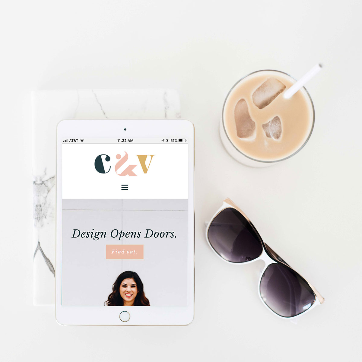 C&V homepage iPad | Katie Williamsen web design strategist