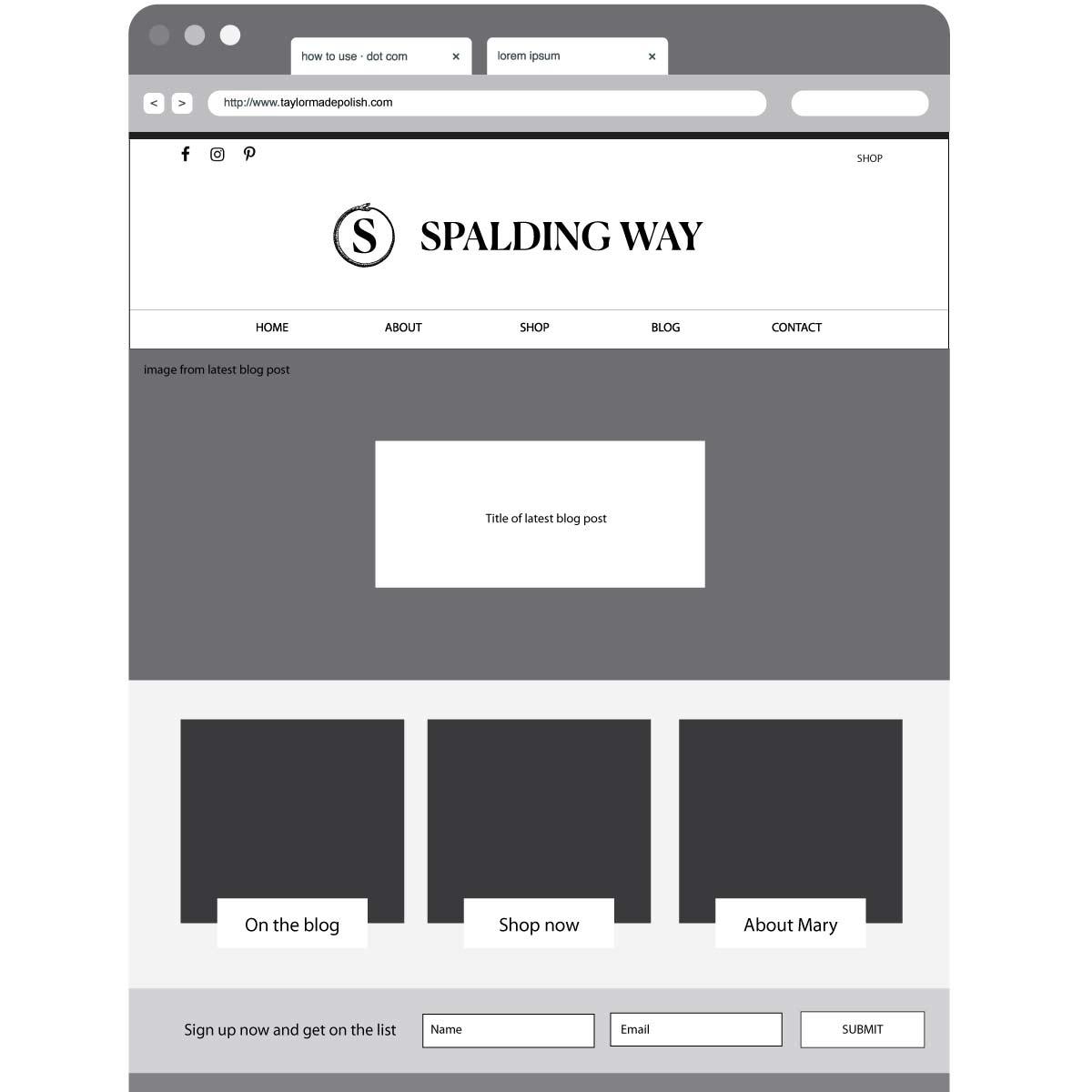 Spalding Way Wireframe Home Page | Katie Williamsen LLC